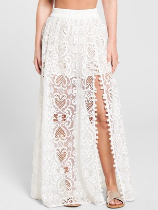 Kate Wright Lace Side Split Maxi Skirt - White