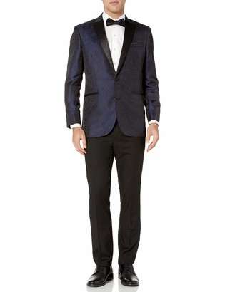 Kenneth Cole Reaction Men's Blue Brocade Peak Lapel Tuxedo 44R