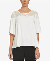 CeCe Lace-Yoke Swing Top