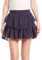 LOVESHACKFANCY Ruffled Crochet Tiered Mini Skirt