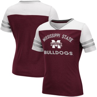 Colosseum Girls Youth Maroon Mississippi State Bulldogs Faboo V-Neck T-Shirt