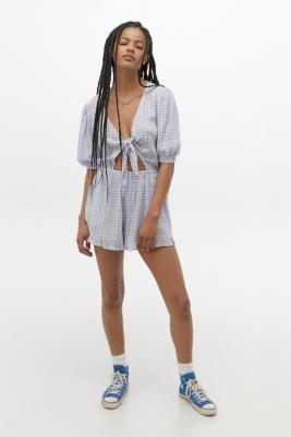 Urban Outfitters Tilly Tie-Front Playsuit - Blue XS at