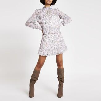 River Island Womens Pink printed ruffle long sleeve mini dress