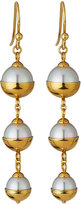 Majorica Graduated Triple-Pearl Dangle Earrings, Golden