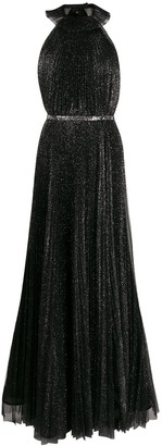 Philosophy di Lorenzo Serafini Glitter-Embellished Pleated Dress