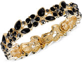 2028 Gold-Tone Black Stone Flower Stretch Bracelet