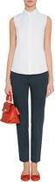 Jil Sander Navy Ivory Cotton Dotted Daisy Sleeveless Shirt