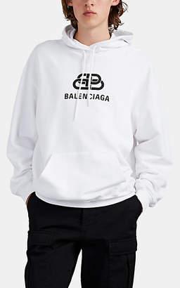 Balenciaga Men's Oversized Logo-Print Cotton Hoodie - White