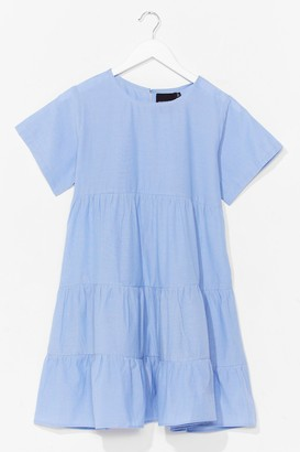 Nasty Gal Womens Chambray Denim Tiered Smock Dress - Blue - 6