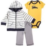 Hudson Baby Newborn Baby Boys Hoodie, Bodysuit & Pant - Car