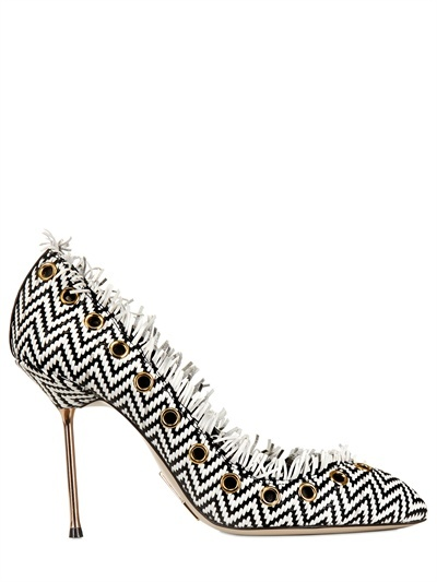 105mm Woven Leather Pumps