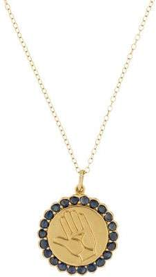 Alison Lou 14K Twister Sapphire Coin Pendant