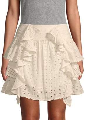 Love Sam Ruffled Eyelet Mini Skirt