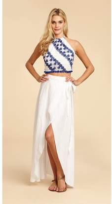 Miguelina Ballerina Linen Wrap Skirt - Pure White
