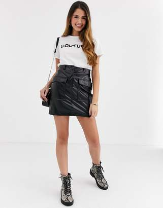 New Look pocket detail faux leather skirt in black