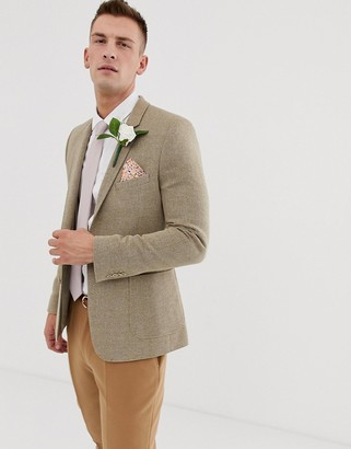 BEIGE Asos Design ASOS DESIGN wedding skinny blazer in wool mix