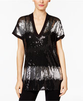 INC International Concepts Sequined V-Neck Top, Only at Macy's