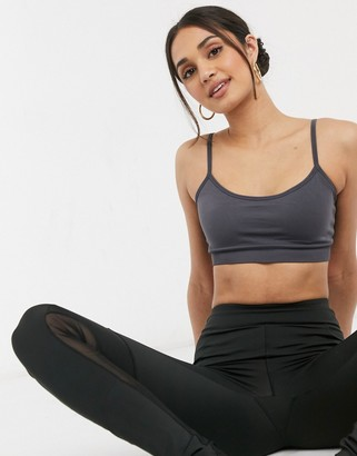 And other stories & recycled yoga sports bra set in charcoal