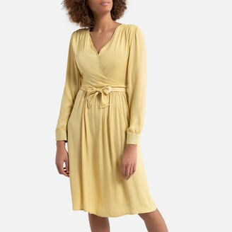 La Redoute Collections Wrapover Mid-Length Dress with Long Sleeves and Tie-Waist
