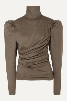 Isabel Marant Davina Draped Wool Turtleneck Top - Army green