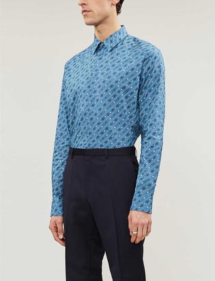 Fendi Logo-print regular-fit cotton-blend shirt
