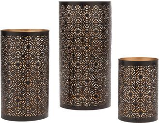 Torre & Tagus Set Of 3 Mandala Metal Cutout Hurricane Candle Holders