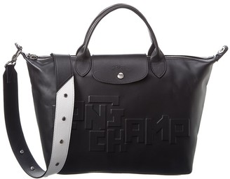 Longchamp Logo Leather Short Handle Tote