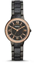 Fossil Virginia Three-Hand Black Stainless Steel and Glitter Acetate Watch