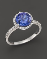 Bloomingdale's Tanzanite and Diamond Halo Ring in 14K White Gold - 100% Exclusive
