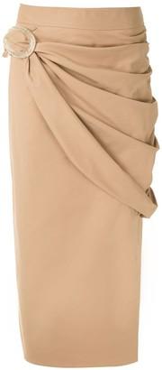 Framed Midi Draped Skirt