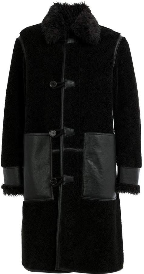 Stella McCartney faux fur trimmed leather patch coat
