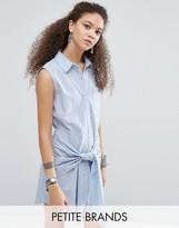 Glamorous Petite Wrap Front Denim Dress