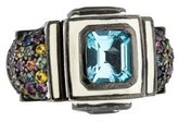 MCL by Matthew Campbell Laurenza Topaz & Multicolored Sapphire Enamel Cocktail Ring