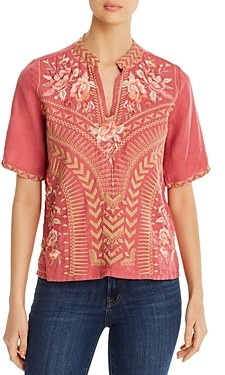Johnny Was Rianne Easy Embroidered Linen Top