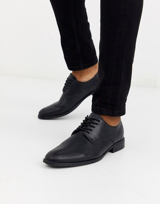 Jack and Jones faux leather derby shoes in black