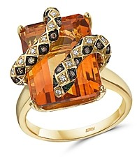Bloomingdale's Brown & White Diamond, Emerald & Citrine Snake Ring in 14K Yellow Gold - 100% Exclusive
