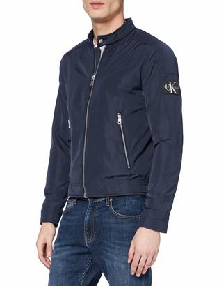 Calvin Klein Jeans Men's Nylon Racer with Details Bomber Jacket