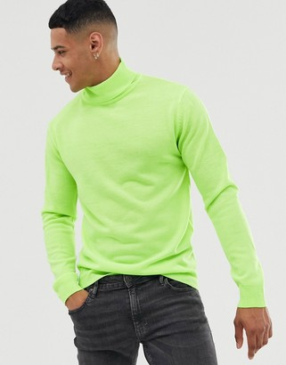 Brave Soul roll neck jumper in neon green