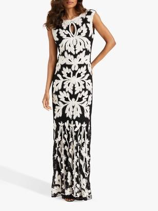 Phase Eight Paige Tapework Dress, Black/Ivory
