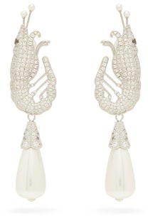 Shrimps Shrimp Crystal And Faux-pearl Clip Earrings - Crystal