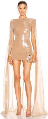 David Koma Sequin Long Cape Mini Dress in Nude | FWRD