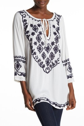 BOHO ME Embroidered 3/4 Sleeve Cover-Up Tunic
