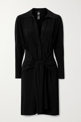Norma Kamali Tie-front Stretch-jersey Mini Dress - Black