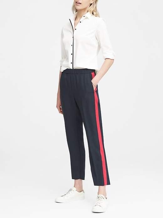 Banana Republic Petite Hayden Tapered-Fit Pull-On Side-Stripe Ankle Pant