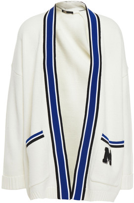 Maje Appliqued Striped Knitted Cardigan