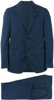 Lardini lapel detail two-piece suit - men - Silk/Cotton/Polyester - 48