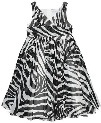 Dolce & Gabbana Kids Zebra-print silk-georgette dress