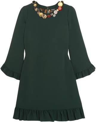 Dolce & Gabbana Embellished Ruffled Crepe Mini Dress