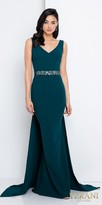 Terani Couture Sleeveless Embellished Waist Column Evening Dress with Sweep Train