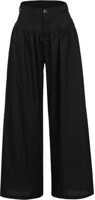 TIFIY Women Plus Size Soft Casual High Waist Wide Legs Long Pants Trousers Pantalon Leggings (5XL